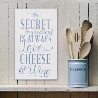 "Stratton Home Decor ""Love Cheese Wine"" Wall Art"