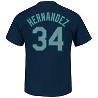 Men's Majestic Seattle Mariners Felix Hernandez Player Name and Number Tee