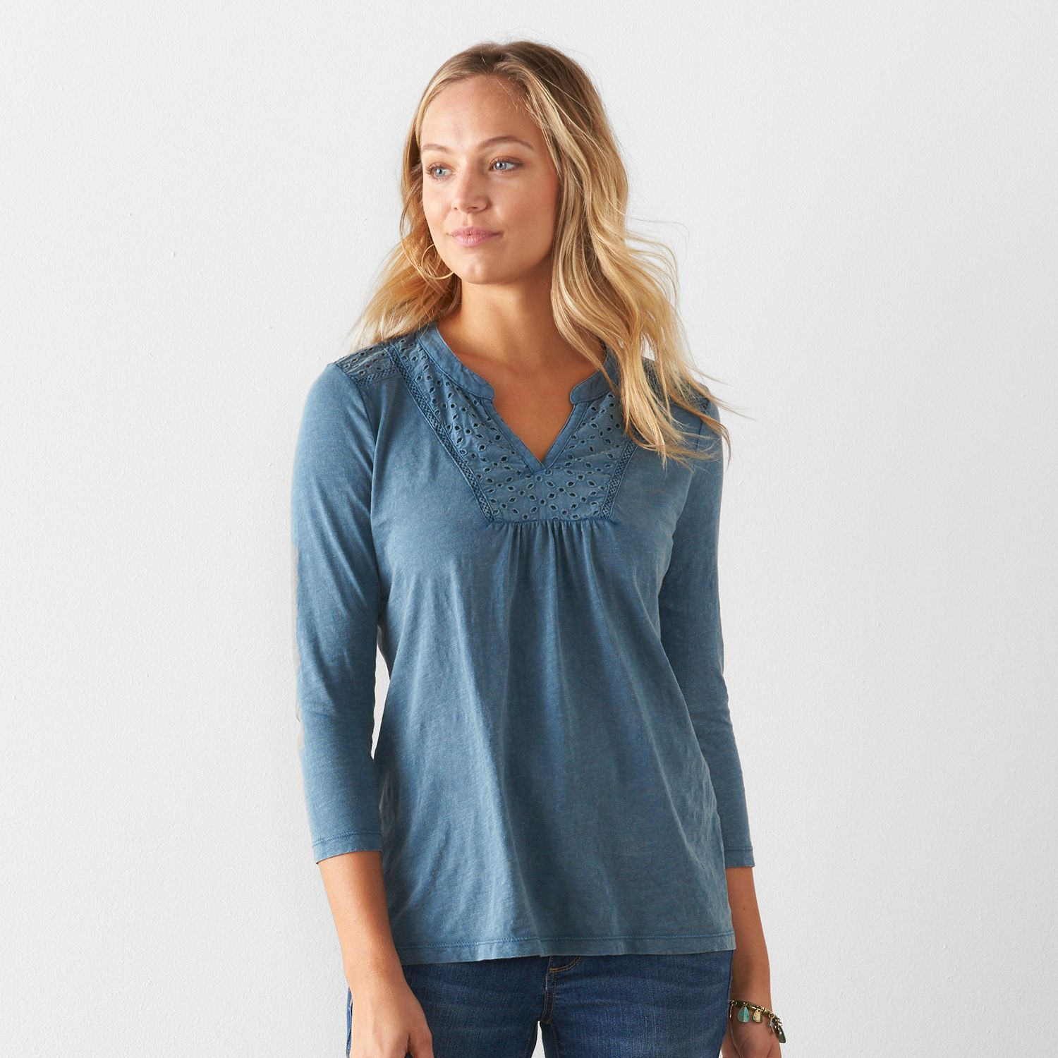 Womens SONOMA Goods for Life? Embroidered Eyelet Top