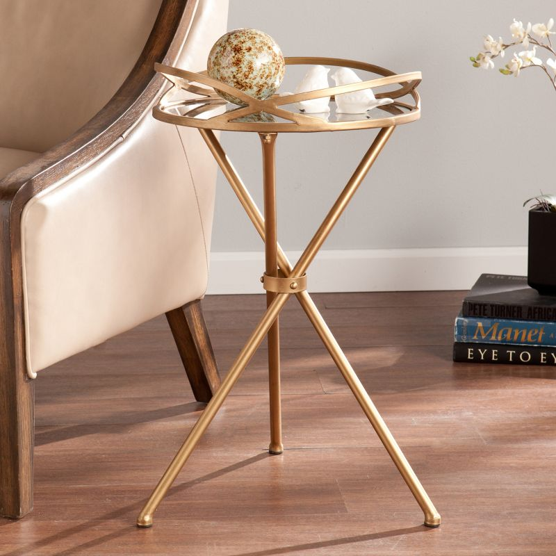Layne Metal Mirrored Accent End Table, Brown