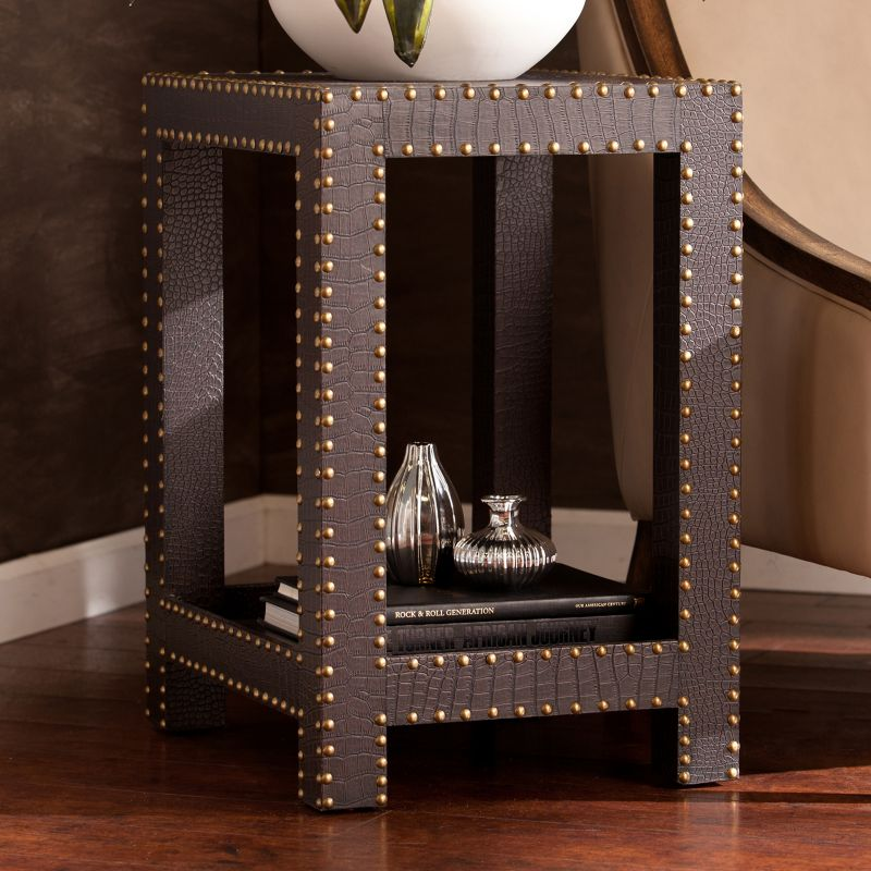 Faux Reptile Nailhead Accent End Table, Brown