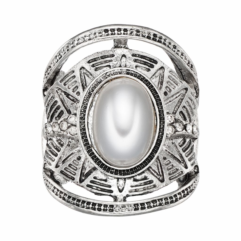 White Oval Cabochon Antiqued Stretch Ring