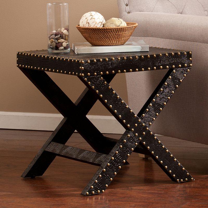 Faux Reptile Nailhead Accent End Table, Black
