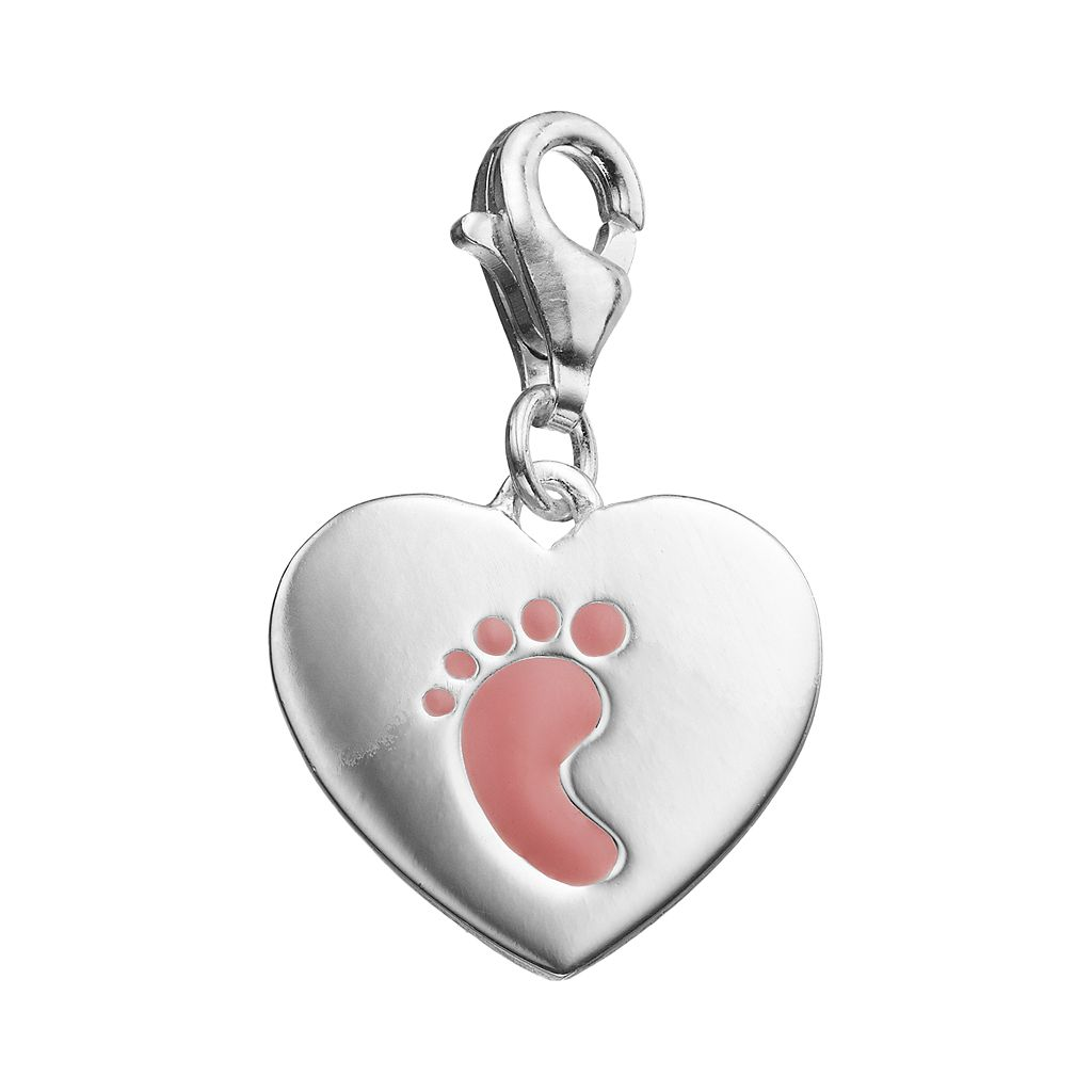 personal charm Sterling Silver Pink Footprint Charm