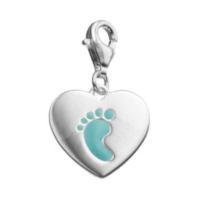 personal charm Sterling Silver Blue Footprint Charm