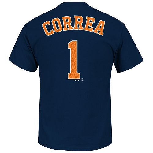 Men's Majestic Houston Astros Carlos Correa Player Name and Number Tee