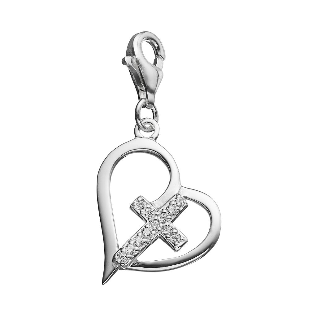 personal charm Sterling Silver Cubic Zirconia Heart & Cross Charm