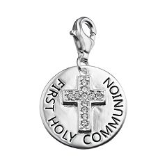 personal charm Sterling Silver Cubic Zirconia 'First Holy Communion' Cross Charm