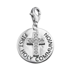 "personal charm Sterling Silver Cubic Zirconia ""First Holy Communion"" Cross Charm"