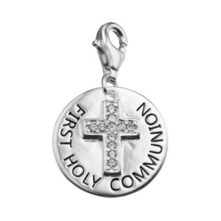 """personal charm Sterling Silver Cubic Zirconia """"First Holy Communion"""" Cross Charm"""