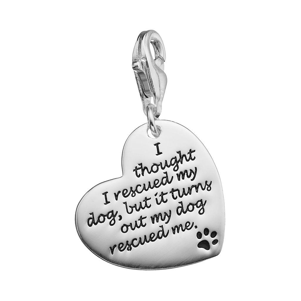 personal charm Sterling Silver Rescue Dog Heart Charm