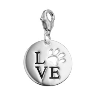 """personal charm Sterling Silver """"LOVE"""" Paw Print Charm"""