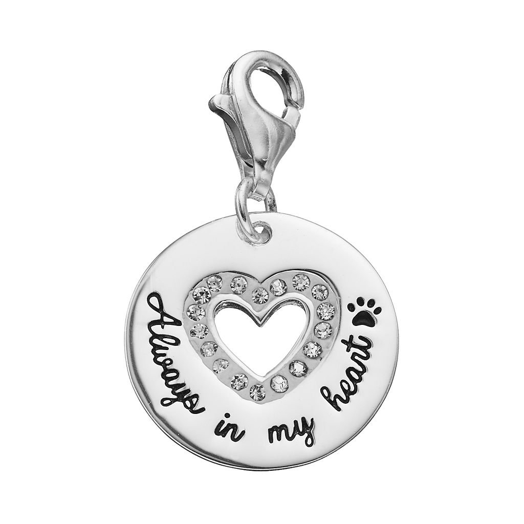 personal charm Sterling Silver Cubic Zirconia Heart Cutout Charm