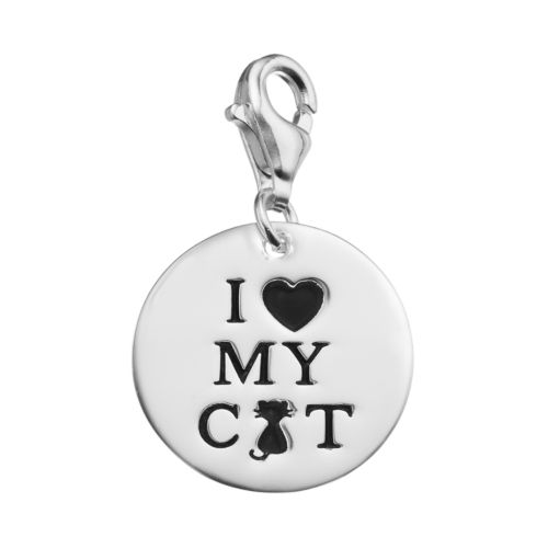"""personal charm Sterling Silver """"I Heart My Cat"""" Charm"""