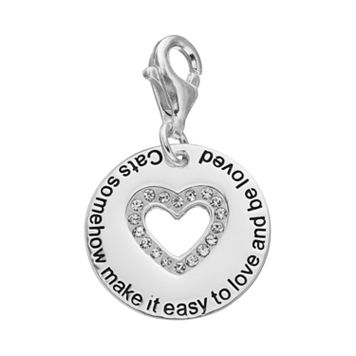 personal charm Sterling Silver Cubic Zirconia Cat's Love Charm