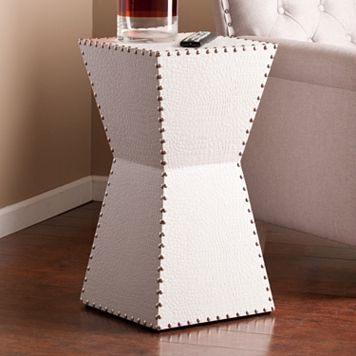 Evenden Faux Leather Accent End Table