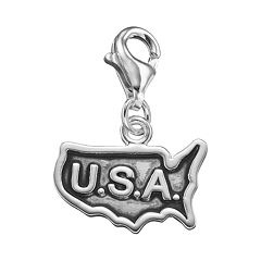 personal charm Sterling Silver USA Map Charm