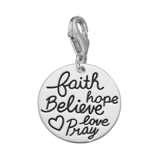 """personal charm Sterling Silver """"Faith, Hope, Believe, Love, Pray"""" Charm"""