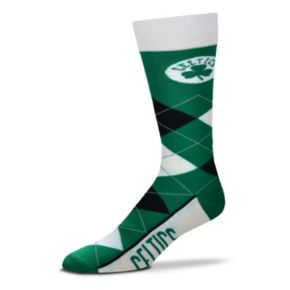 Adult For Bare Feet Boston Celtics Argyle Line Up Crew Socks