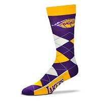 Adult For Bare Feet Los Angeles Lakers Argyle Line Up Crew Socks
