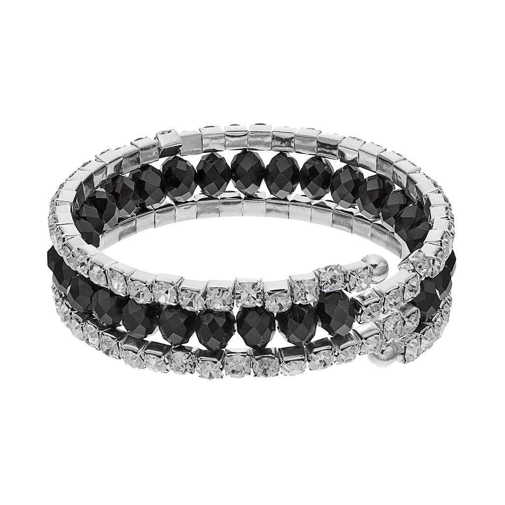 Black Beaded Coil Bracelet