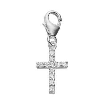 personal charm Sterling Silver Cubic Zirconia Cross Charm