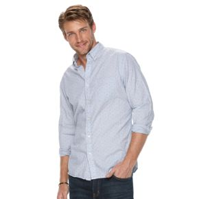 Men's SONOMA Goods for Life™ Modern-Fit Plaid Poplin Button-Down Shirt