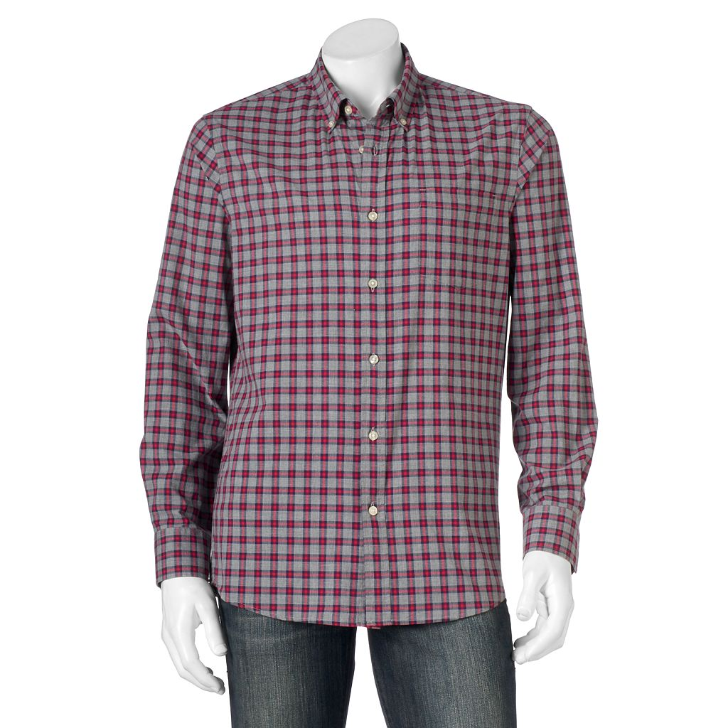 Men's SONOMA Goods for Life™ Modern-Fit Plaid Poplin Button-Down Shirt