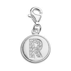 personal charm Sterling Silver Cubic Zirconia Initial Charm
