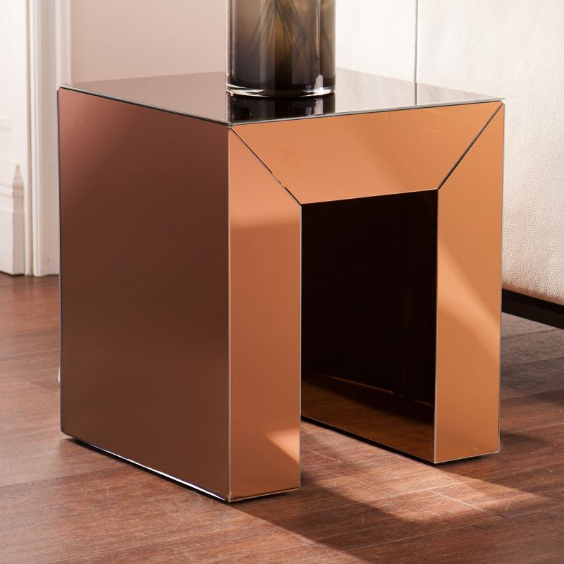 Alexia Mirrored Accent End Table, Brown