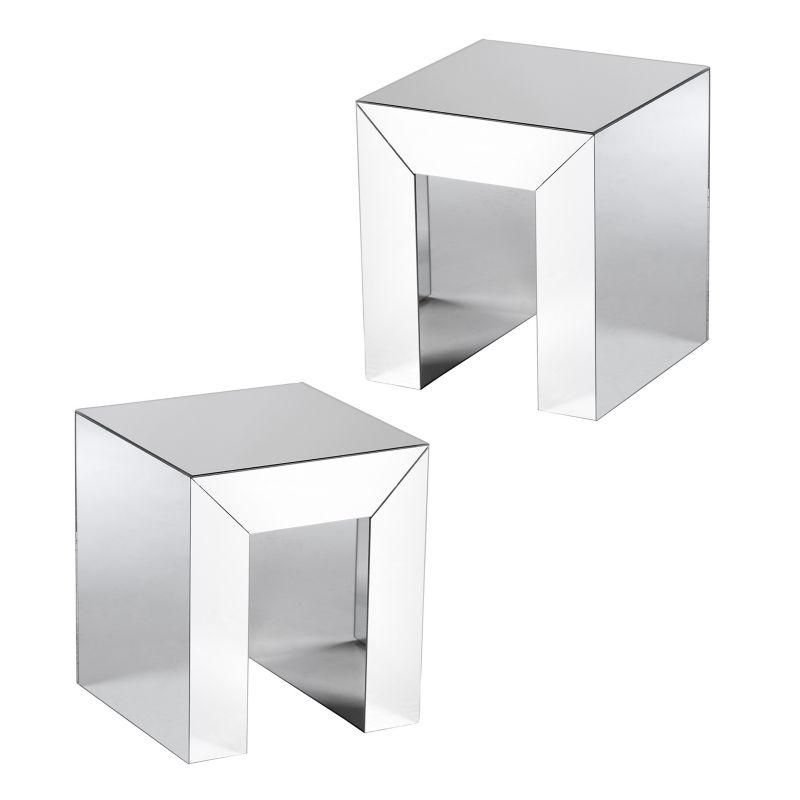 Alexia Mirrored Accent End Table 2-piece Set, Silver