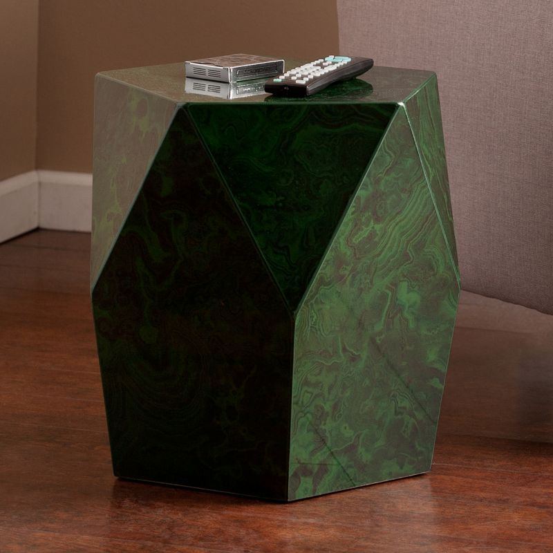 Laraway Faux Stone Accent End Table, Green