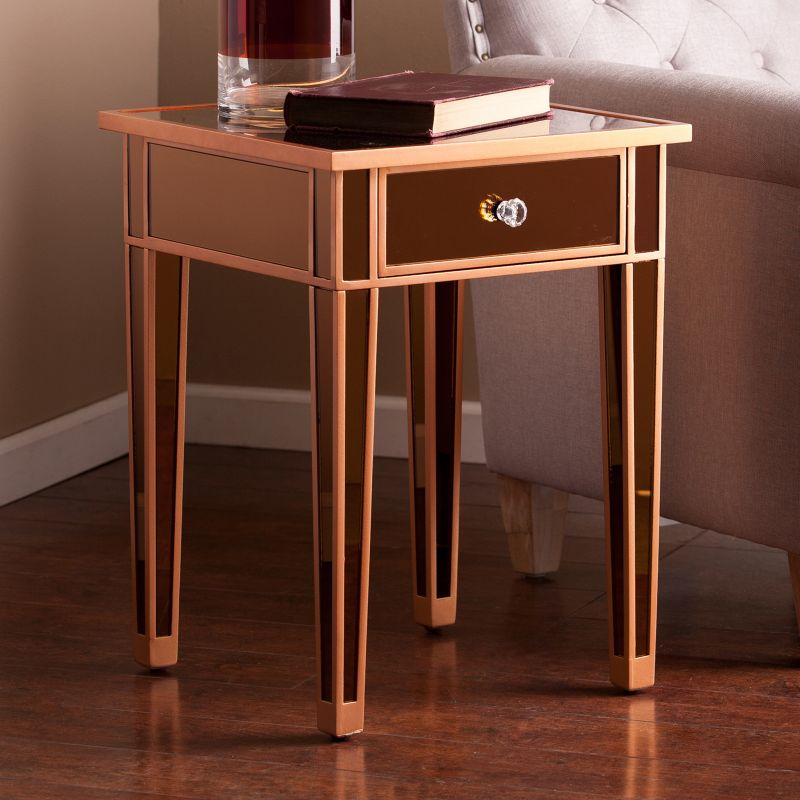 Mckinney Mirrored Accent End Table, Brown
