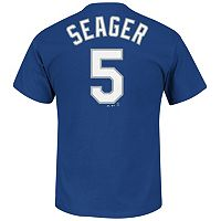 Men's Majestic Los Angeles Dodgers Kyle Seager Player Name and Number Tee