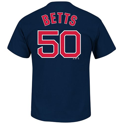 Men's Majestic Boston Red Sox Mookie Betts Player Name and Number Tee