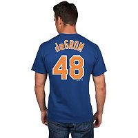Men's Majestic New York Mets Jacob deGrom Player Name and Number Tee