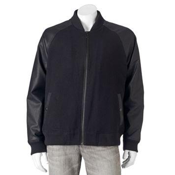 Men's Apt. 9® Modern-Fit Mixed Media Raglan Wool-Blend Bomber Jacket
