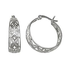 PRIMROSE Sterling Silver Openwork Flower Hoop Earrings