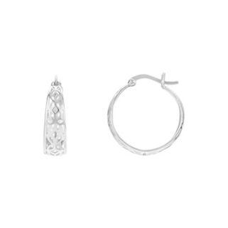 PRIMROSE Sterling Silver Openwork Flower Hoop Earrings