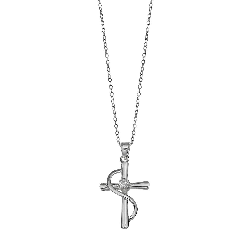 PRIMROSE Sterling Silver Cubic Zirconia Cross Pendant Necklace