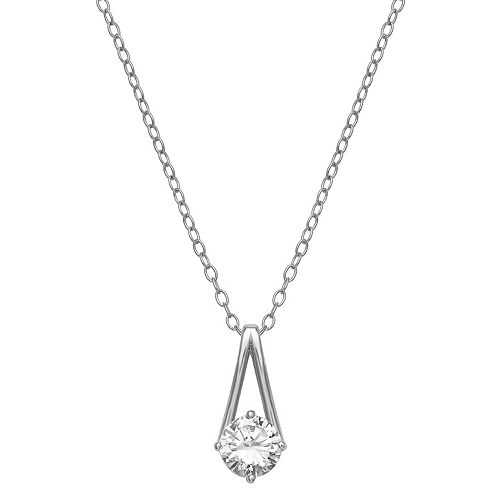 PRIMROSE Sterling Silver Cubic Zirconia Solitaire Pendant