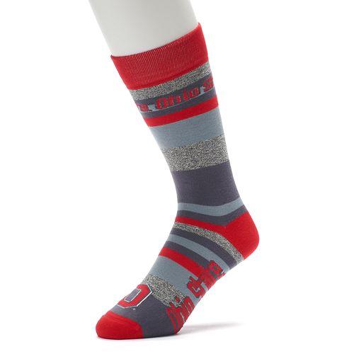 Men's For Bare Feet Ohio State Buckeyes Mountain Stripe Dress Socks