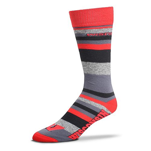 Men's For Bare Feet Wisconsin Badgers Mountain Stripe Dress Socks