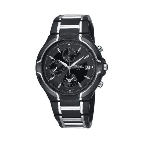 Pulsar Stainless Steel Black Ion Chronograph Watch - Men