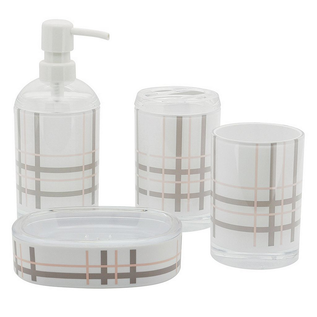 Plaid 4-piece Bathroom Accessories Set