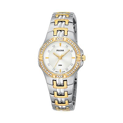 Pulsar Two Tone Stainless Steel Crystal Watch - PTC388 - Women