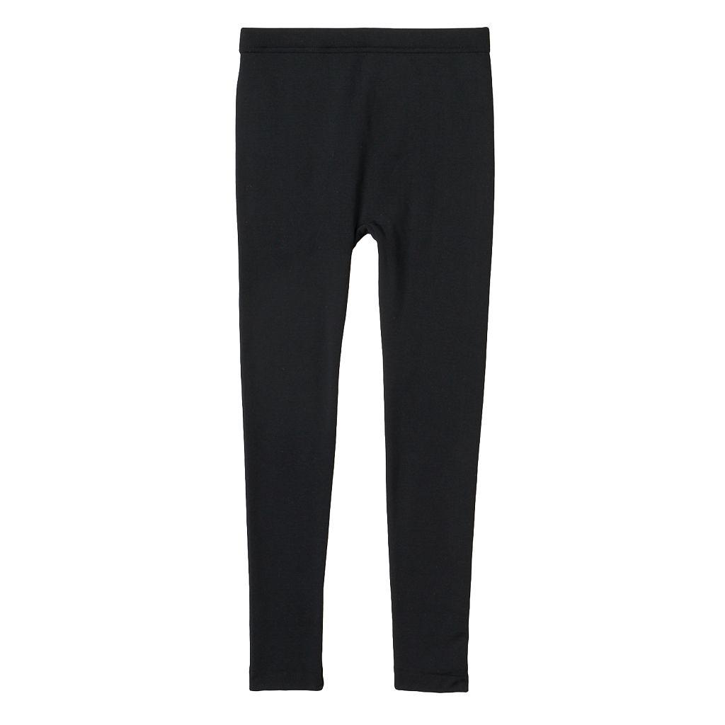 Girls 7-16 Solid Black Fleece-Lined Leggings