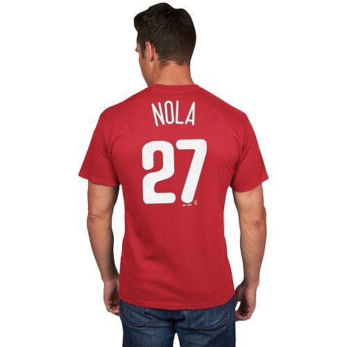 Men's Majestic Philadelphia Phillies Aaron Nola Player Name and Number Tee