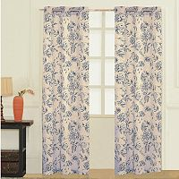 United Curtain Co. Fiona Floral Linen Window Curtain Set