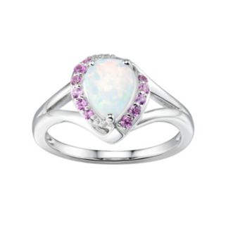Sterling Silver Lab-Created White Opal & Pink Sapphire Teardrop Halo Ring